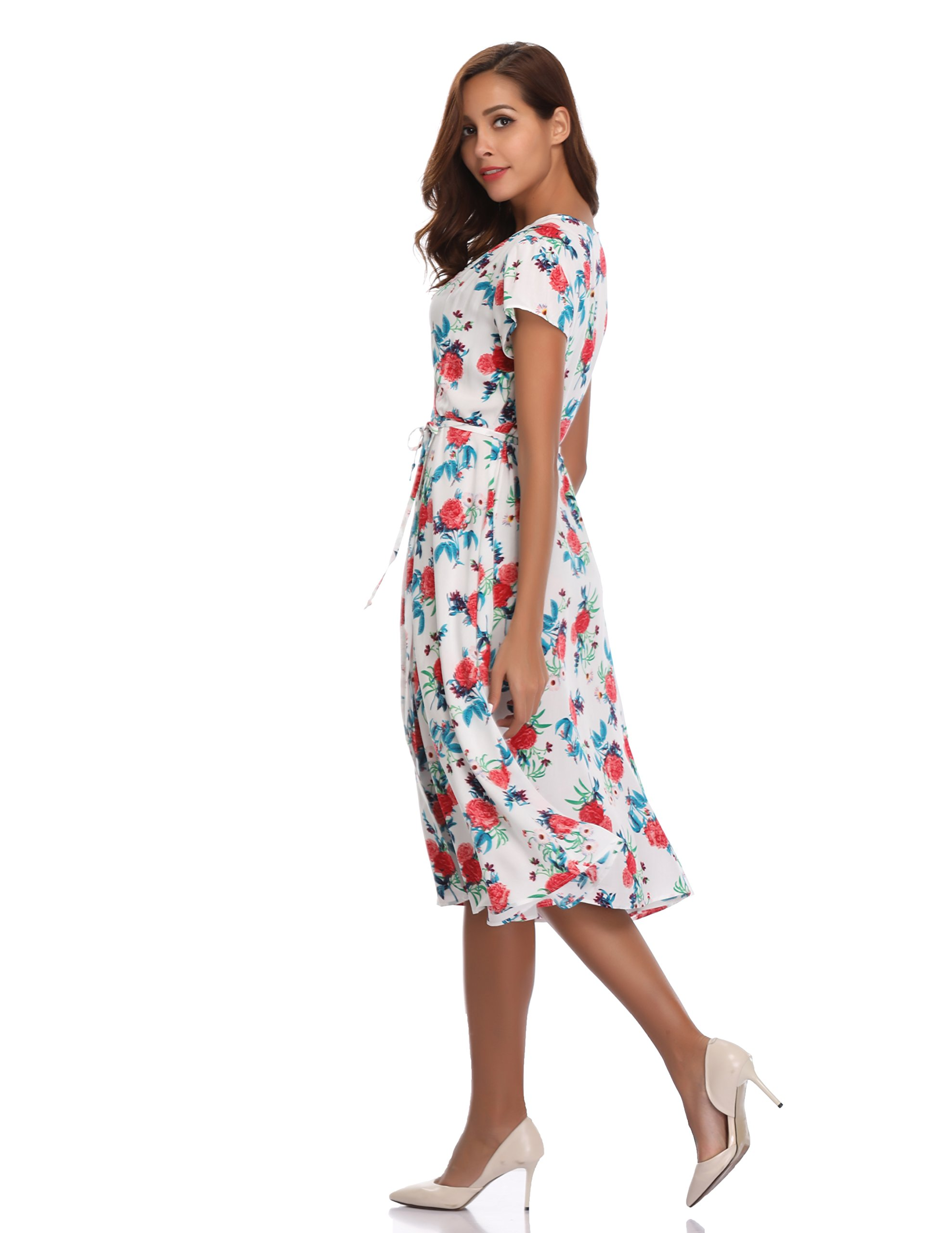 Floating Time Women's Floral Print Short Sleeve Midi Wrap Dress(S, CF42583-3) by Floating Time (Image #4)