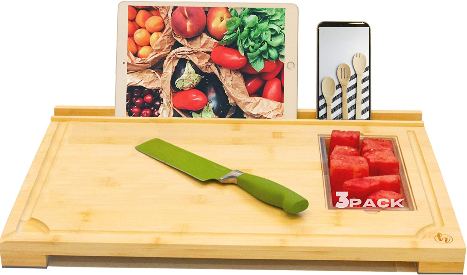 Modern Bamboo Cutting Board - Phone, Ipad, Tablet Holder - Set of 3 Food Prep Containers/Trays - Non-Slip Feet, Juice Groove, Chopping Board, Butchers Block - Extra Large Surface - 20