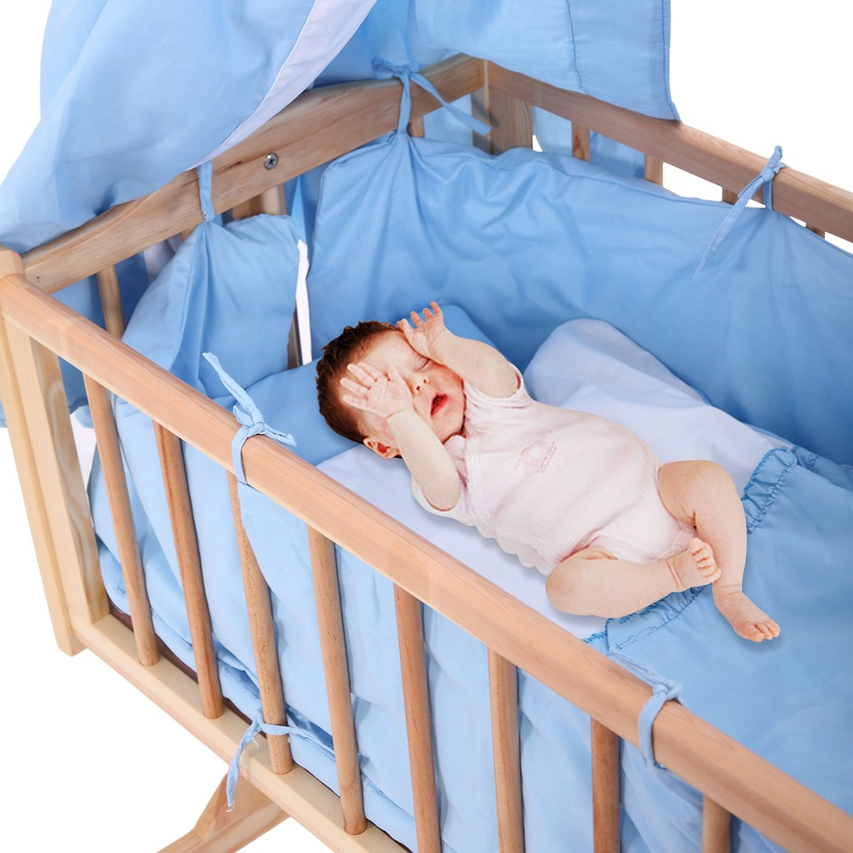 JAXPETY Wood Baby Cradle Rocking Crib Bassinet Bed Sleeper Portable Nursery Blue by JAXPETY (Image #3)