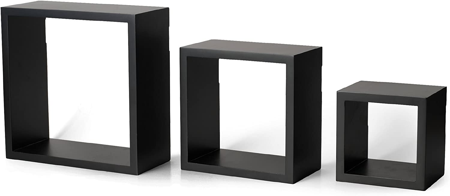 Set of 3 MELANNCO Espresso Floating Wall Mount Square Cube Shelves 3 Count