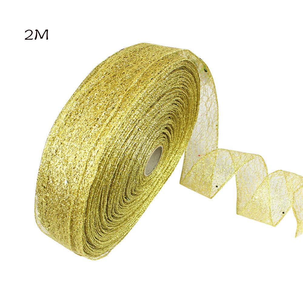 Christmas Mesh Ribbon Christmas Wrapping Ribbon Rolls Gift Wrapping Ribbon for Wedding Christmas Decoration - 2M/78.7 Inch (Gold)