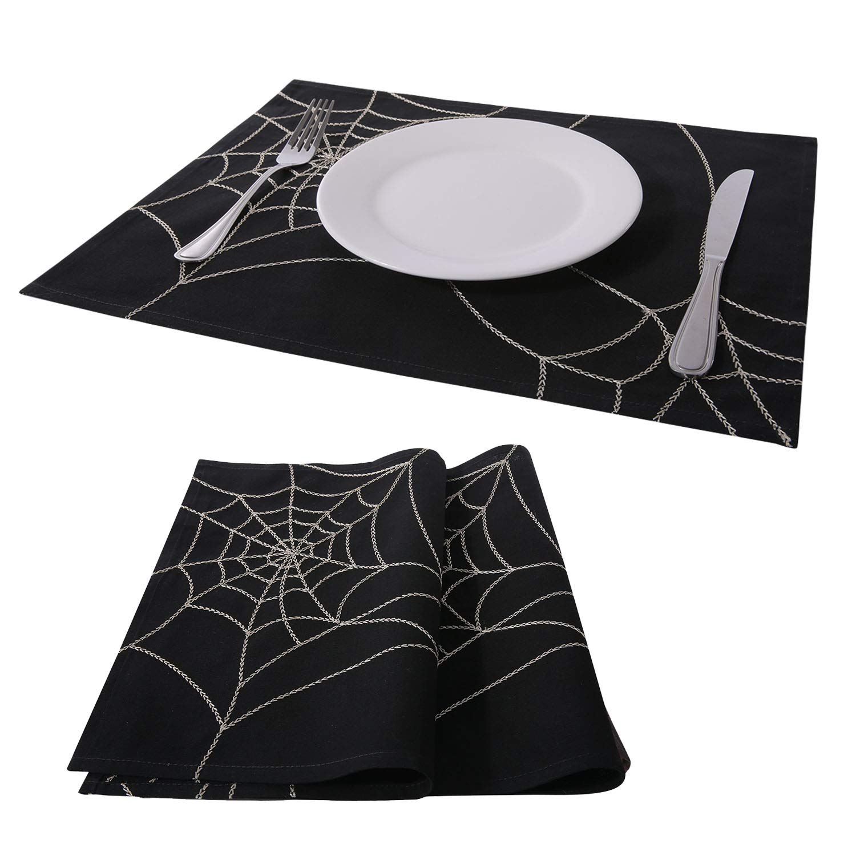 PHANTOSCOPE Decorative Set of 2 Cobweb Spider Halloween Placemat for Kitchen 13'' x 18'' 33 x 45 cm