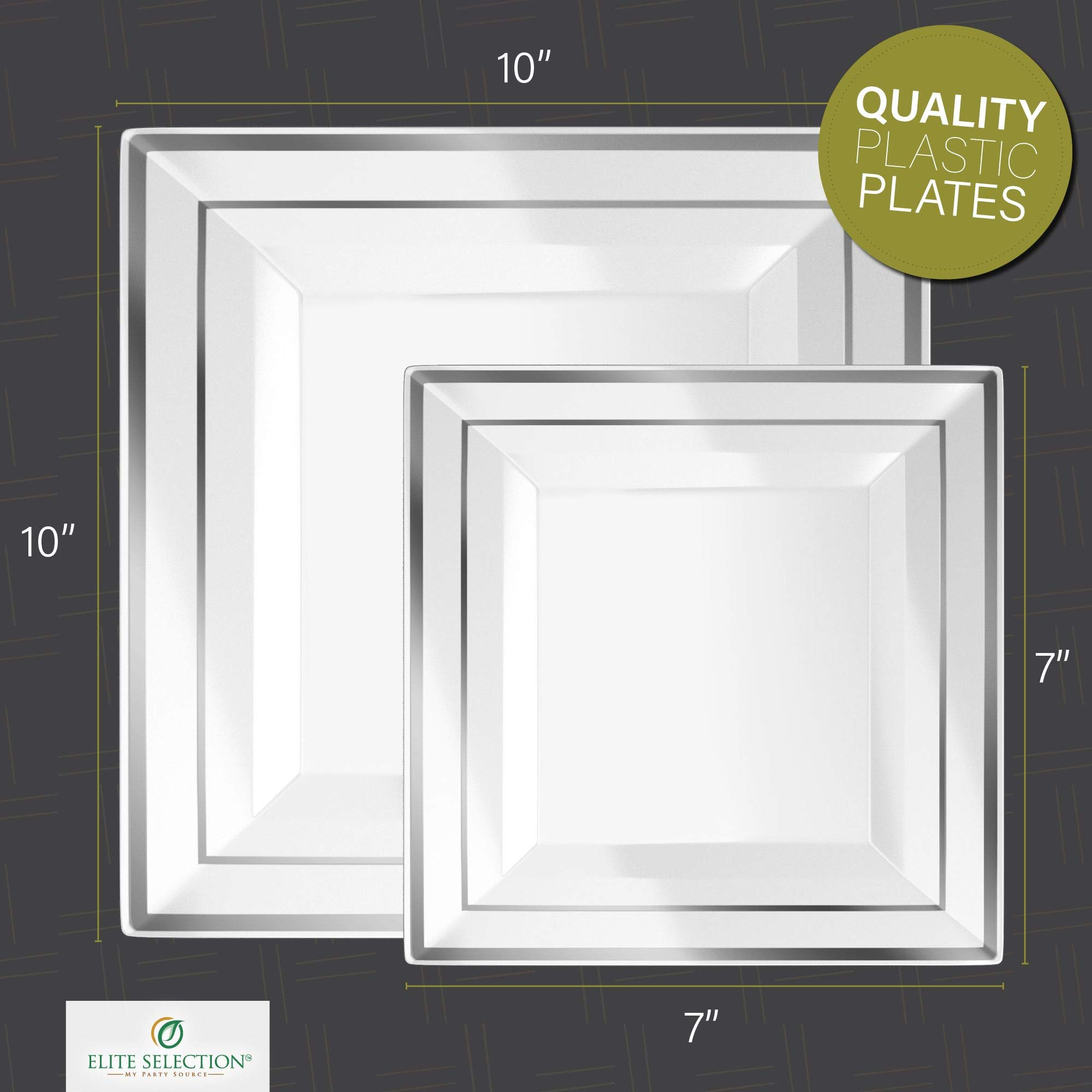 Disposable Plastic Plate Set - 40 Pack Dinnerware with 10'' Dinner and 7'' Salad Plate (20 Count Each) with Elegant Silver Trim for Wedding, Birthday, Party - by Elite Selection by ELITE SELECTION (Image #3)