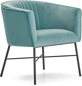 Adore Decor Leone Upholstered Accent Chair Velvet Tufted Comfy Back Cushion Club Armchair, Modern Living Room Furniture for Small Spaces, Comfortable Teal