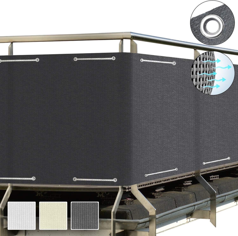 Balkon Sichtschutz blickdichte Balkonumspannung 90x500 cm – Geländer Sichtschutz Anthrazit - mit Ösen und Kordel - in div. Größen & Farben von Sol Royal