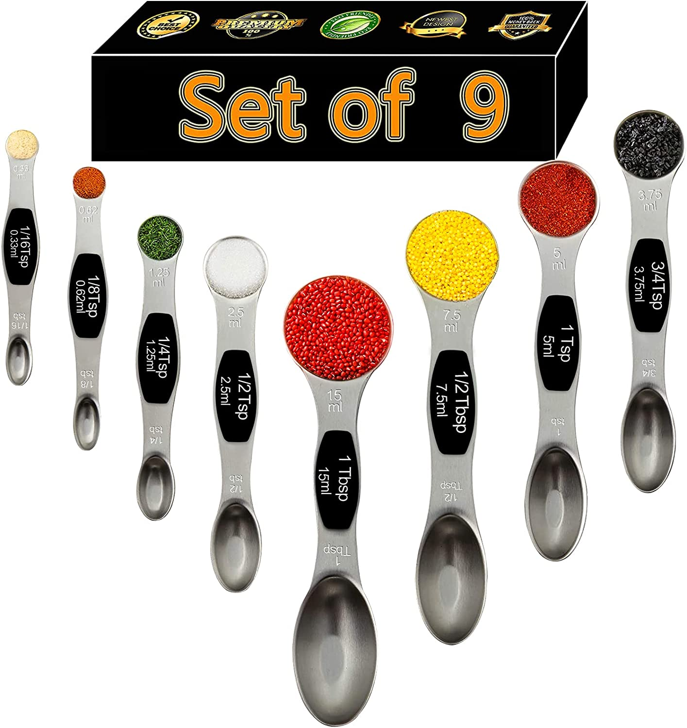 Magnetic Measuring Spoons Set Dual Sided 18/8 Stainless Steel Teaspoons Stackable fits in Spice Jars or Liquid,Set of 9