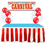 Carnival Circus Party Supplies Decorations - Red & White Striped Table Skirt, Plastic Carnival Banner with 10 Red Balloons and 10 White Balloons