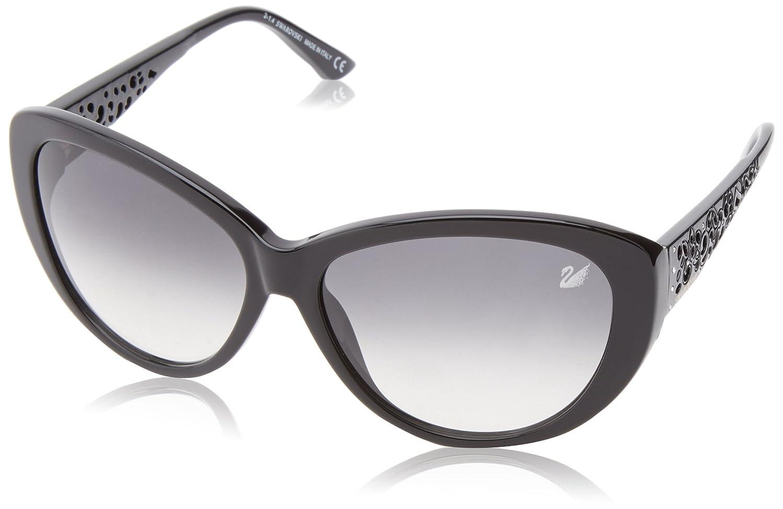 Swarovski Women's Cateye Sunglasses (Black/Gradient Smoke) 61 Davina