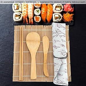Sushi Kit, Premium Bamboo Sushi Making Kit Includes 2 Rolling Mats 5 Chopsticks 1 Paddle 1 Sushi Blade(9Pcs/Set)