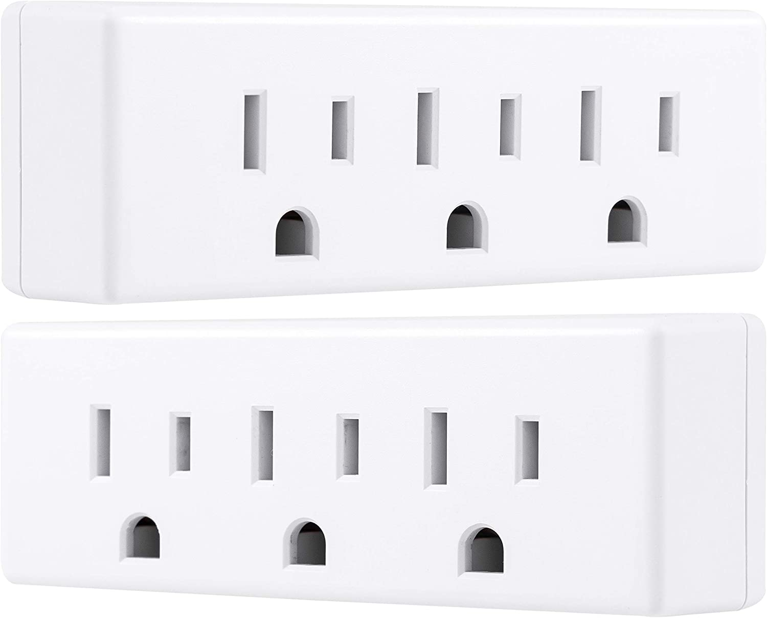 Philips 3 Outlet Adapter, 2 Pack, Power Outlet Splitter, Grounded Wall Tap, Indoor, White, SPS1630W/37