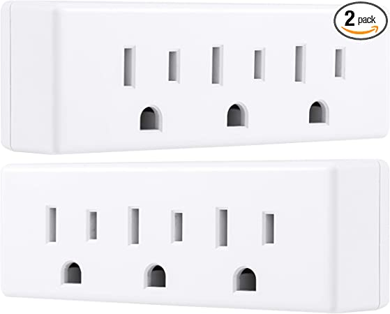 Split 1 Way Outlet into a 3-way Outlet US Plug Wall Charger Adapter White Color