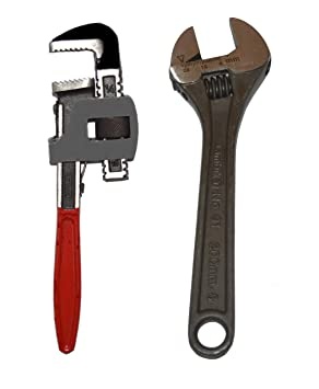 AMBIKA Combo of Heavy Pipe Wrench with Adjustable Spanner (Small)