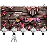 Kartik™ Digital Printed Love Designer Key Holder 5 Hook Hanging Key Holder Multi-Color Matte Finish for Home Decor & Gift 10 x 6 Inches