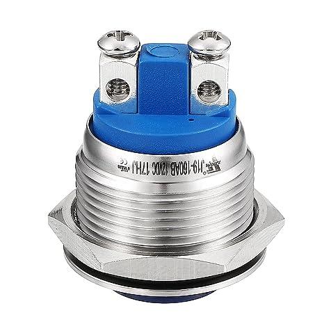 sourcing map LED Indicator Light DC 12V 19mm Blue Metal Shell Pilot Custom Dash Signal Lamp Convex Head