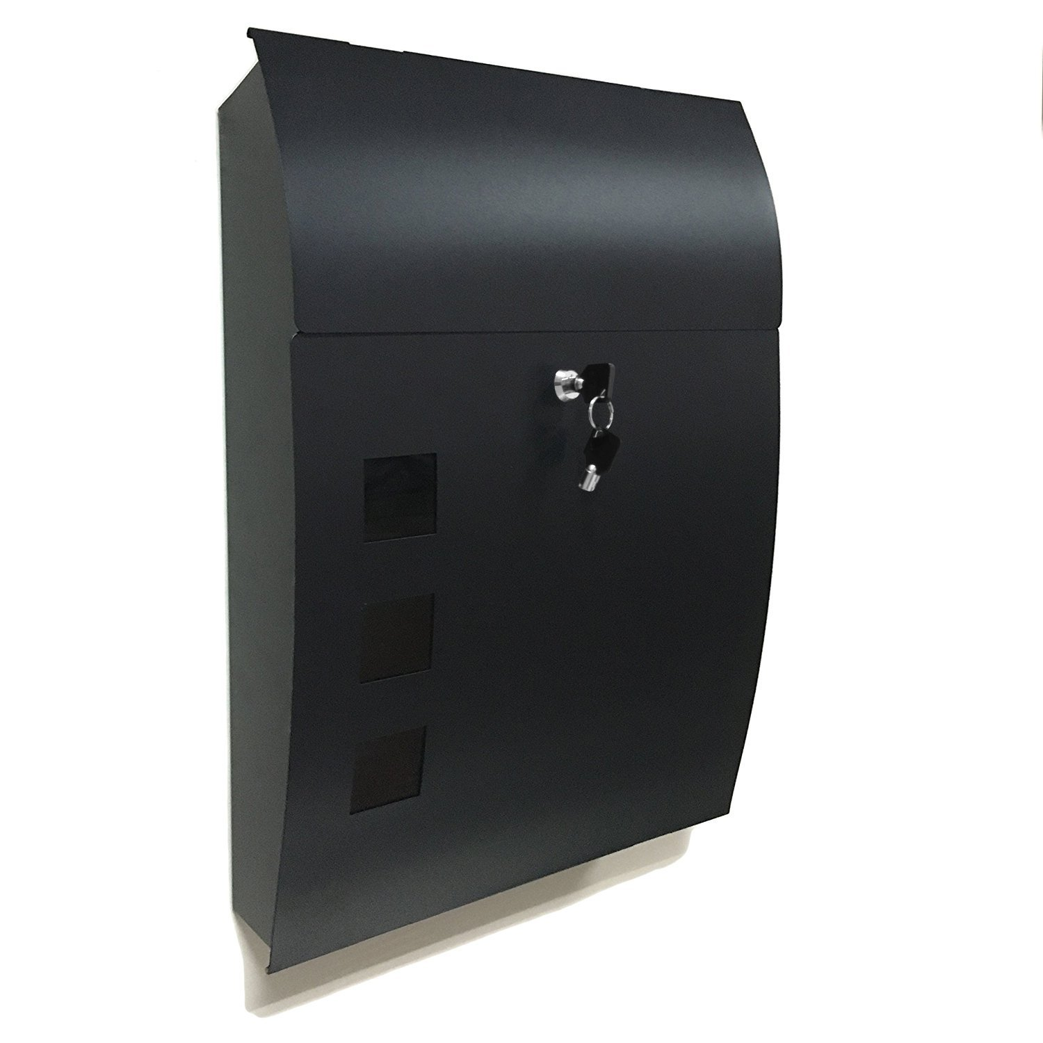 Mailbox stainless steel locking mail box letterbox postal box modern - Black Wall Mounted Mailbox Large 18 Vertical Locking Drop Mail Box For Modern Houses Front Porch Residential Outdoor Rural Roadside Galvanized Steel Cover