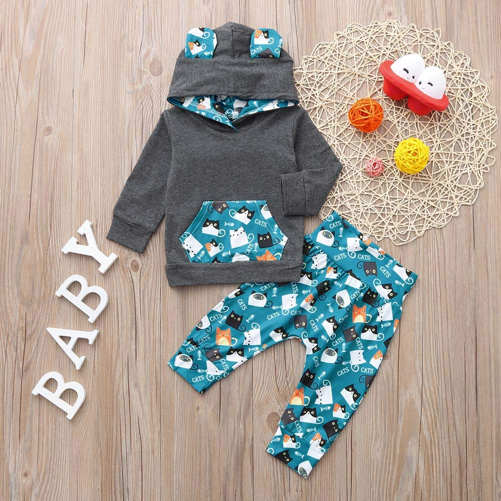 Sameno Baby Christmas Layette Set,Infant Baby Boys Girls Animal Print Hooded Tops Pants Winter Outfits Clothes Set