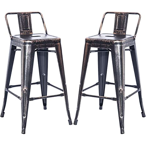 Admirable Amazon Com Dercass Set Of 2 Metal Bar Stools Stackable Bralicious Painted Fabric Chair Ideas Braliciousco