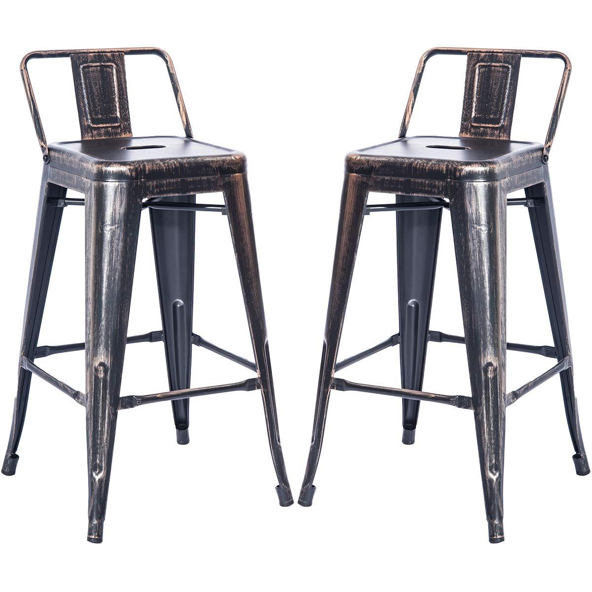 Lovedfull Metal Counter Stool Metal Chair Barstool Set of 2 (Golden Black)