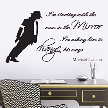 Michael Jackson Man In The Mirror Lyrics Music Quote Lounge Living Room  Hallway Bedroom Wall Sticker Part 51