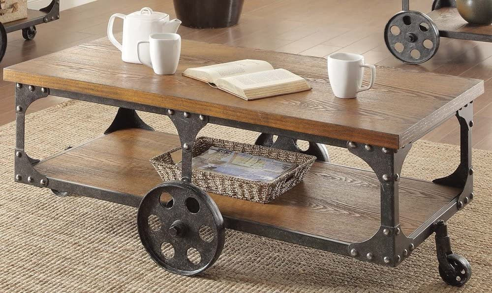 Amazon Com Mobile Coffee Table With Wheels Large Open Shelf