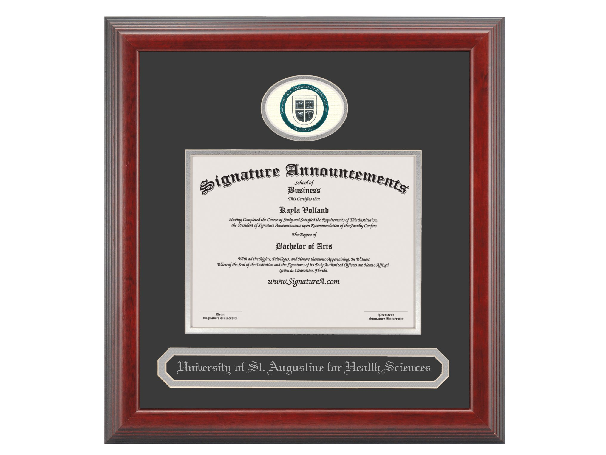 Signature Announcements University-of-St-Augustine-for-Health-Sciences-Master's Undergraduate, Graduate/Professional/Doctor Sculpted Foil Seal & Name Diploma Frame, 16'' x 16'', Cherry