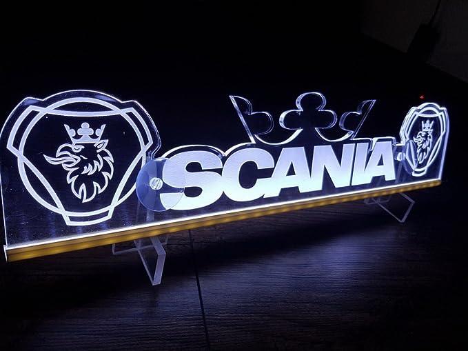Re LED Neon Placa para Trucker camión Blanco Eclairage Placa Mesa Corona caseta d?coration Ferroviario Grav? Au láser: Amazon.es: Coche y moto