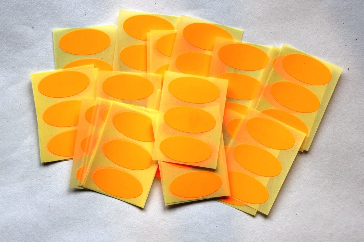 Sticky Coloured Self Adhesive Ovals for Colour Coding 75 Red Oval Stickers