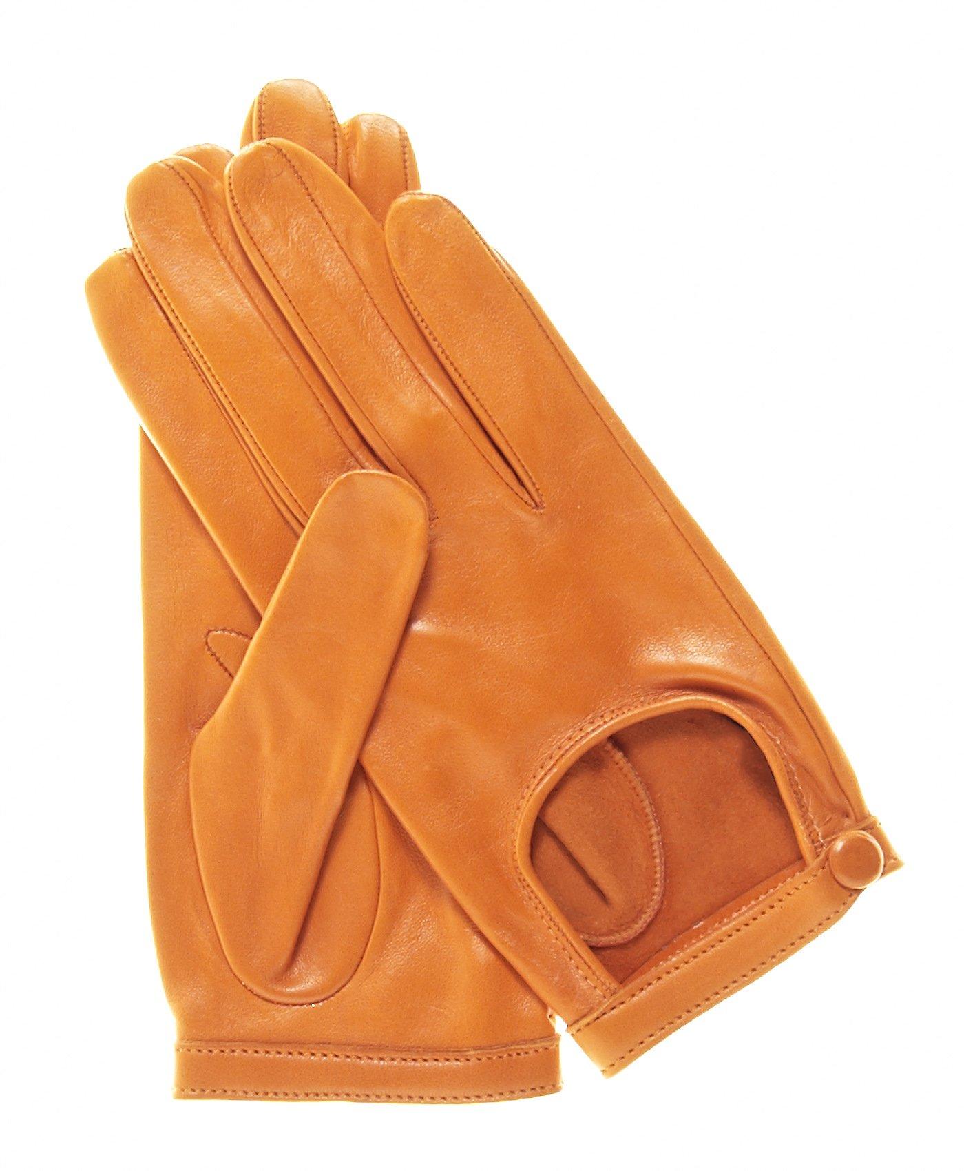 Fratelli Orsini Women's Classico Italian Lambskin Driving Gloves Size 7 Color Tangerine by Fratelli Orsini