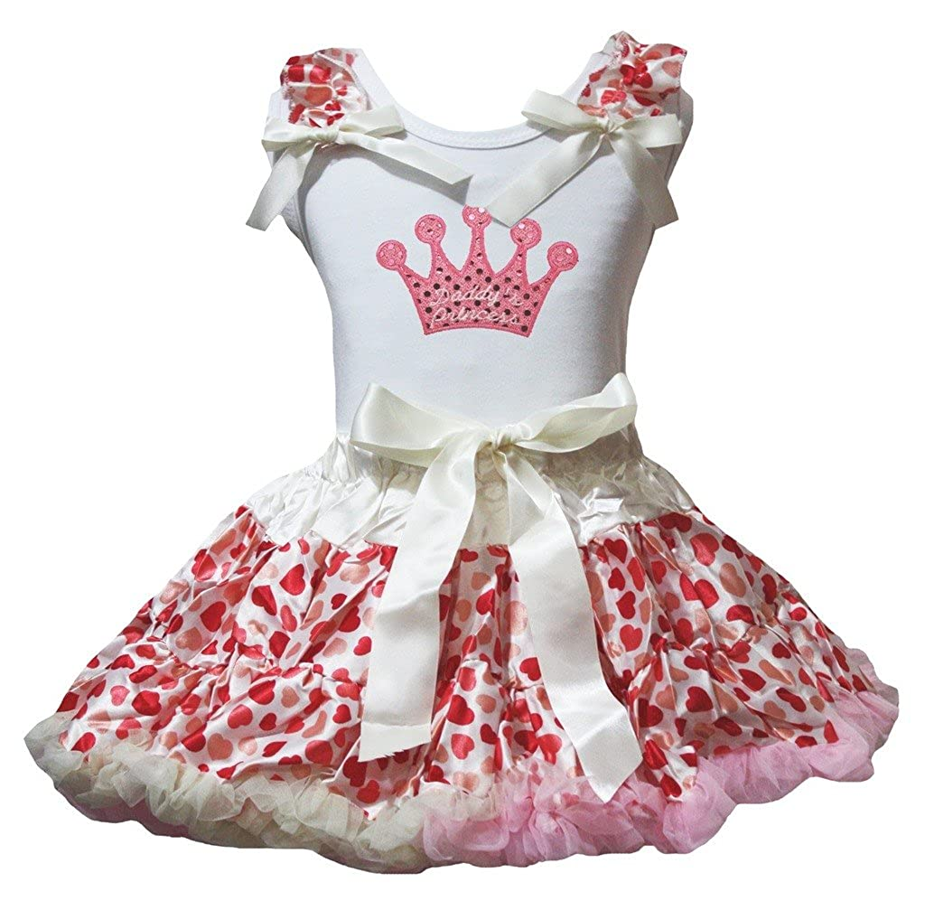 Petitebella Pink Sequins Crown White Shirt Beige Hearts Skirt Outfit 1-8y