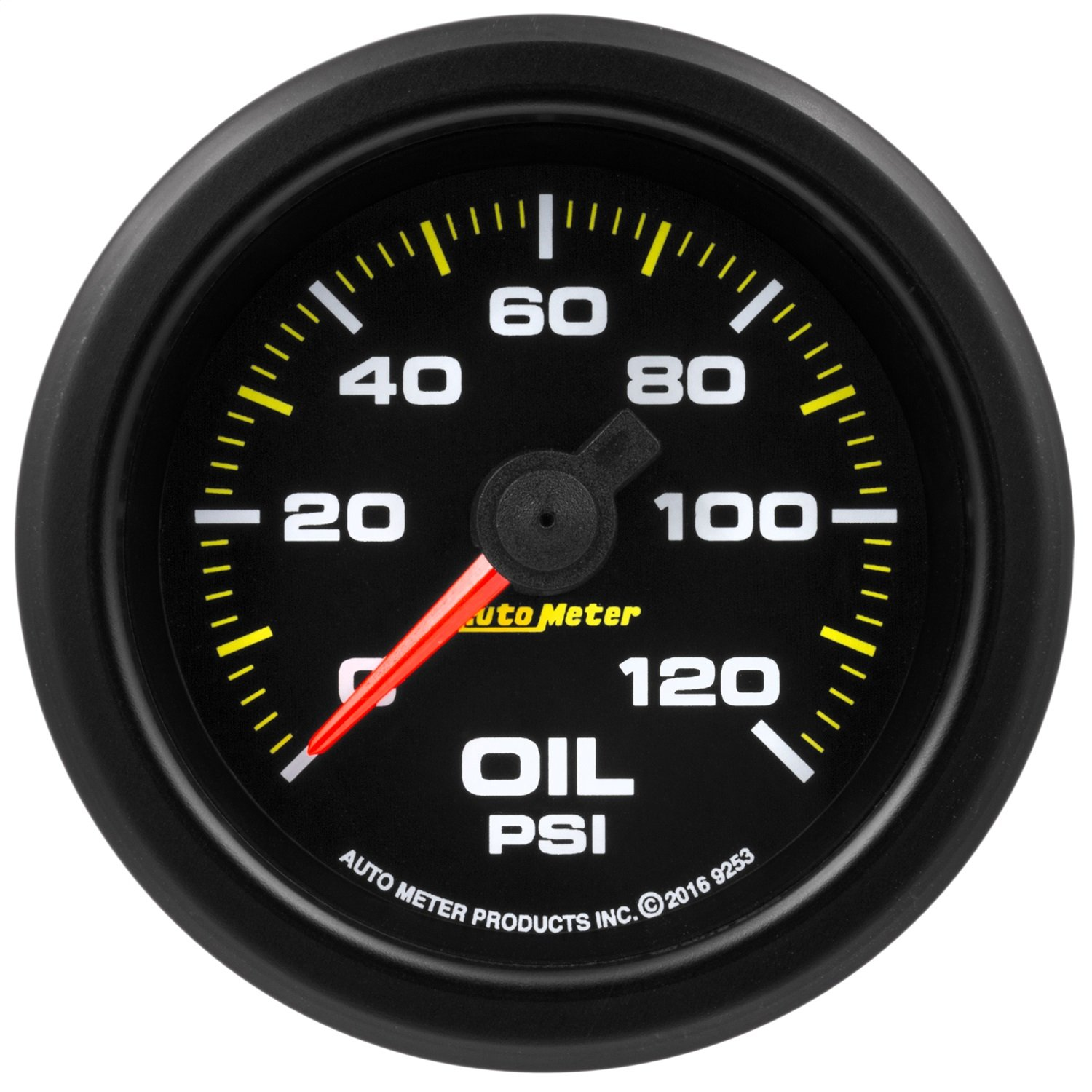 AutoMeter 9253 Extreme Environment Oil Pressure Gauge 2-1/16 in. 0-120 Psi Black Dial Face Fluorescent Red Pointer Black Bezel White LED Lighting w/Peak And Warn Extreme Environment Oil Pressure Gauge