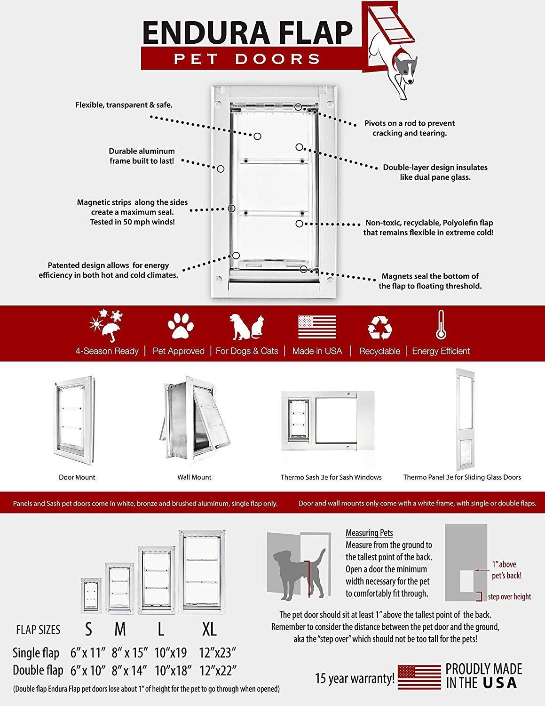 Endura Flap Medium Wall Mount - White Double Flap 8'' x 14'' Pet Door