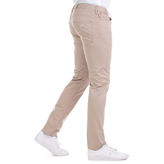 bfa6c1753d Emporio Armani Mens J06 Jeans, Stretch Cotton Gabardine Slim Beige Denim