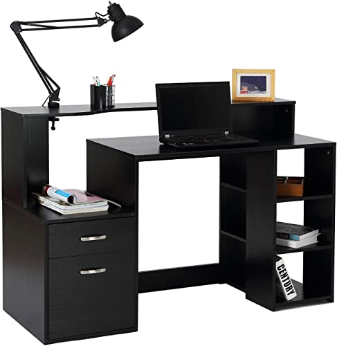 HOMCOM 54″ Multi-Level Modern Design Home Office Desk
