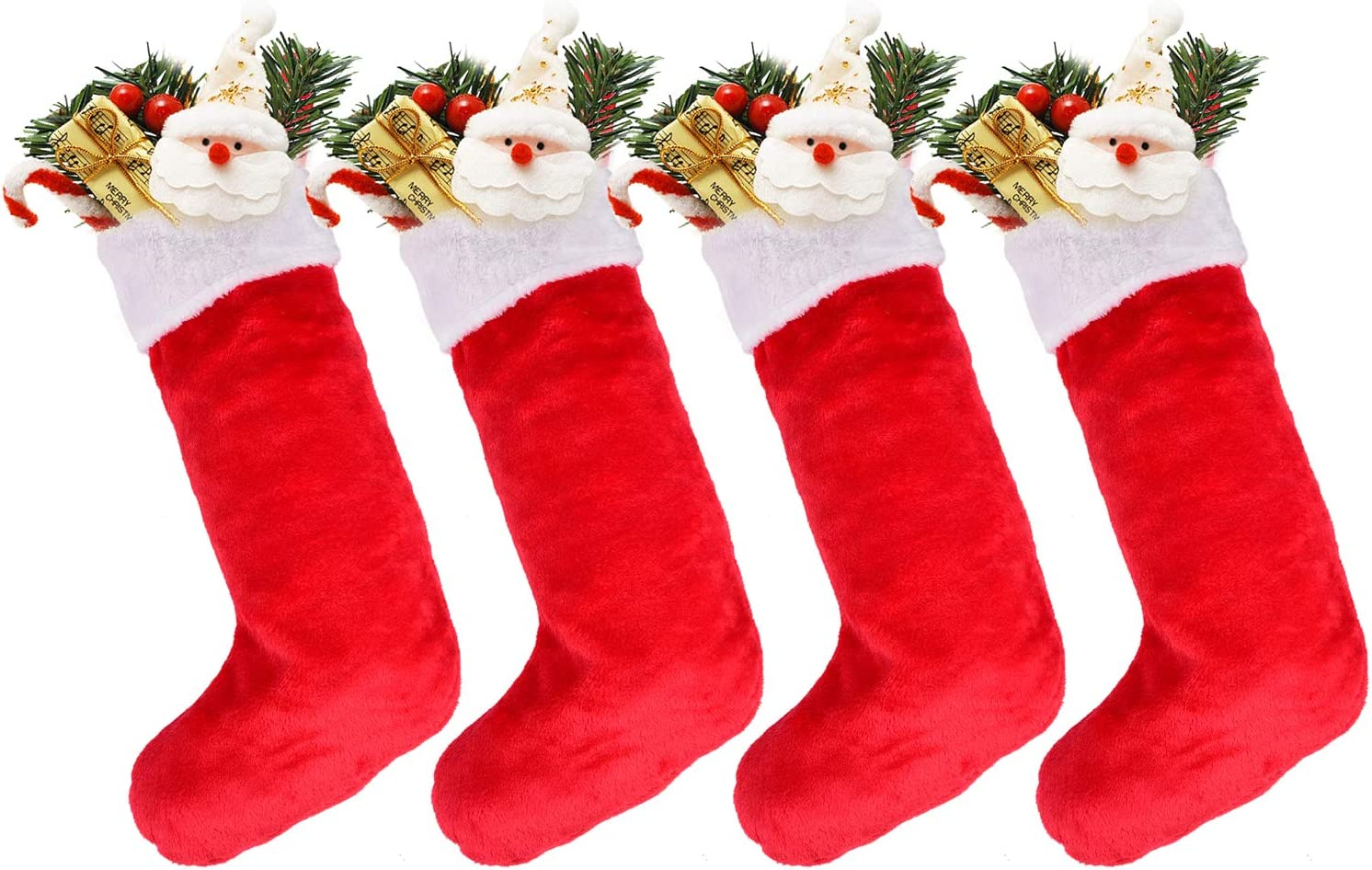 DearHouse 4 Pack Christmas Stockings, 21 inches Polyester Classic Red and White Plush Mercerized Velvet Stockings, for Home Holiday Xmas Party Fireplace Decorations