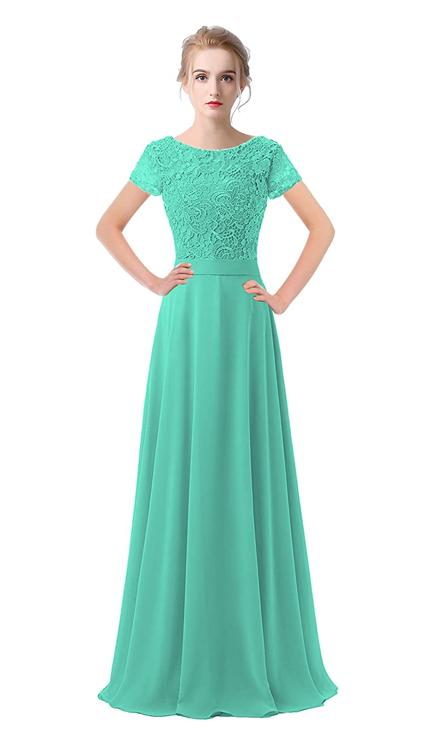 Turquoise VaniaDress Women Lace Short Sleeves Long Evening Dress Prom Gown V061LF