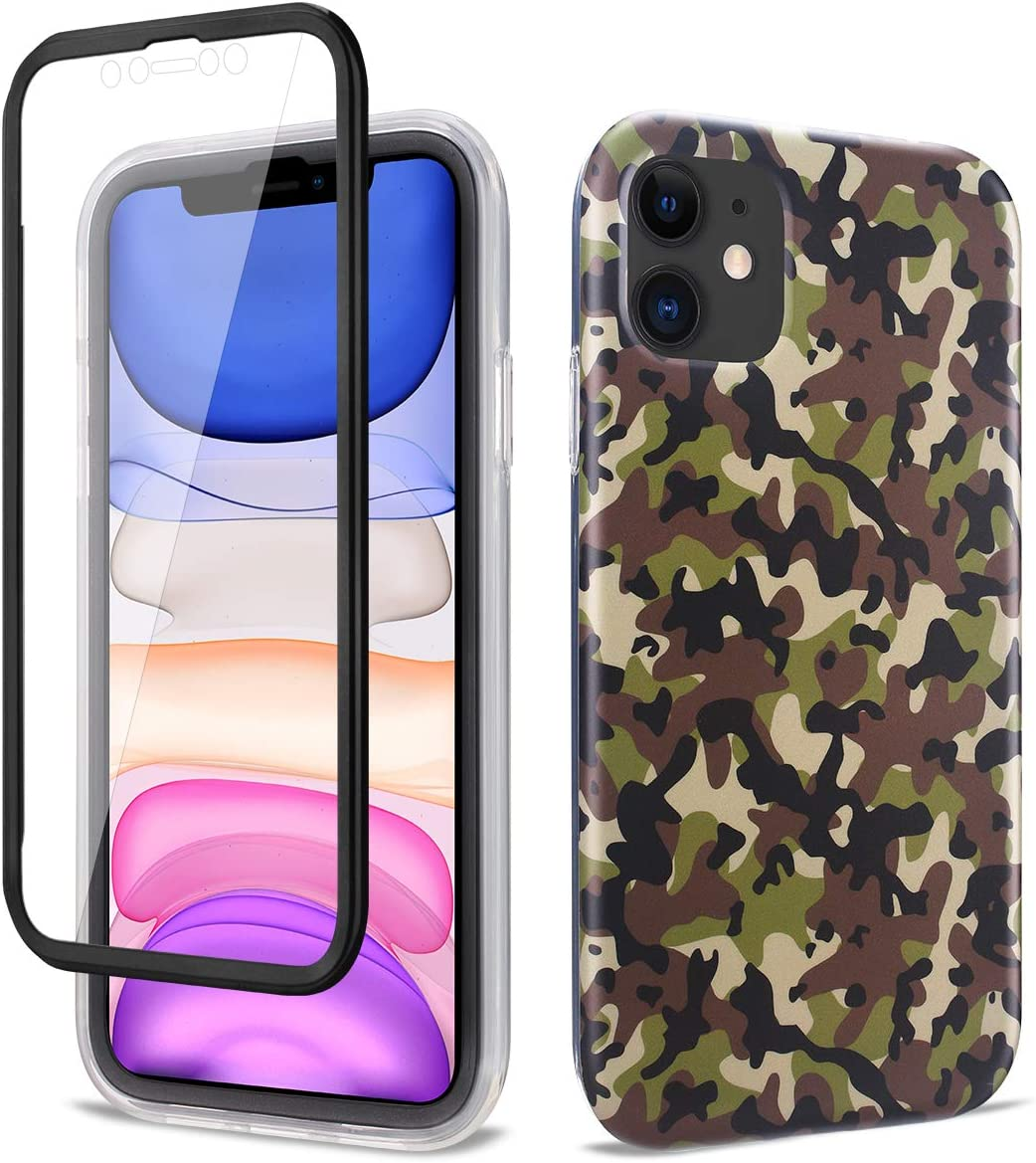 Ballaber iPhone 11 Case, Full-Body Built-in Screen Protector Slim Stylish Protective Case Hard PC Soft TPU Bumper Rubber Double Protection Case for Apple iPhone 11 6.1