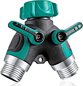 OKK Garden Hose Splitter 2 Way, Y Hose Connector Metal Body with Rubberized Grip, 3/4 inch Y Valve Water Faucet Splitter for Outdoor and Indoor,1 Pack