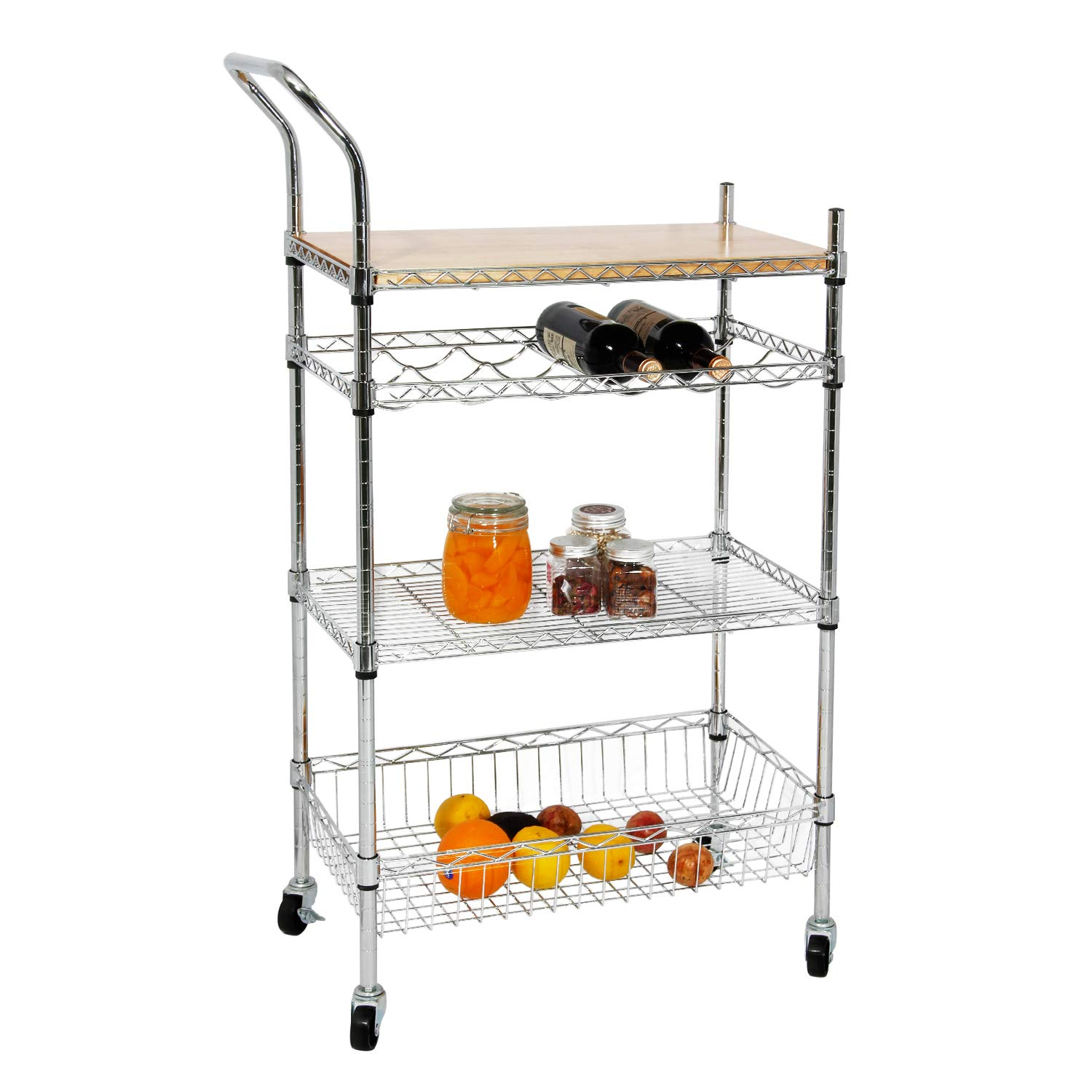 Soges Kitchen Shelf Wheels, Sturdy Rolling Cart/Shelving Unit/Storage Shelf/Trolley/Units Kitchen, Home, Office, Bathroom,KS-ZSCS-03-CA PRC