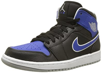 buy online 092ec d61d2 Nike Mens Air Jordan 1 Black Mtlc Platinum Game Royal Basketball Shoes 11  Men