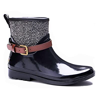 Women's Rubber Ankle Booties Mixed Color Rain Boots
