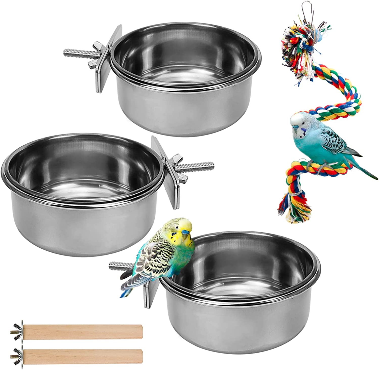 3 Pack Birds Food Dish Parrot Stainless Steel Feeding Cups Bird Feeders Water Cage Bowls with Clamp Holder and 2 Pcs Bird Stand Toy for Parakeet Conure Cockatiels Lovebird Budgie Chinchilla (Set 3)