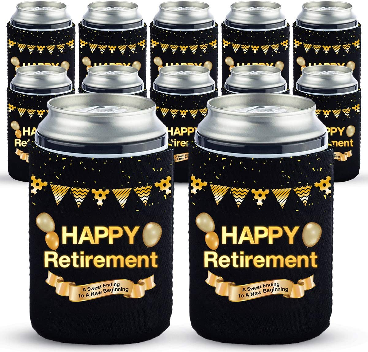 Funny Retirement Can Coolers Gifts for Men And Women-12 OZ Collapsible Neoprene Can Beer Bottle Beverage Cooler Cover Insulator Holder Sleeve for Cola Beer Soda (12)