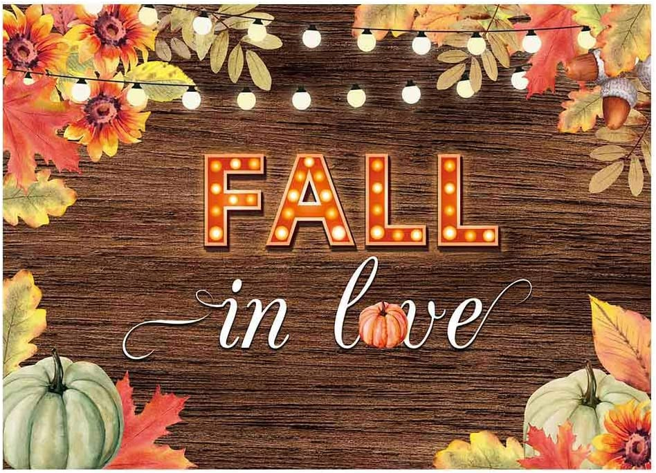 Funnytree 7x5ft Fall in Love Bridal Shower Party Backdrop for Photography Autumn Rustic Wooden Floor Background Glitter Lights Maple Leaves Wedding Anniversary Decorations Banner Photo Booth Props