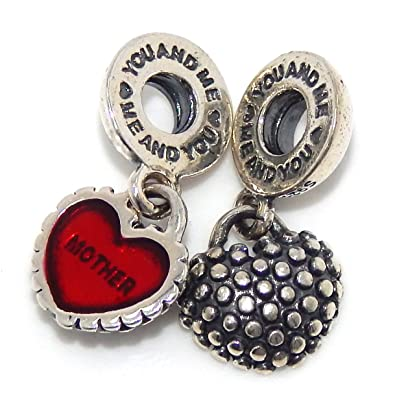 STERLING SILVER DANGLING MOTHER DAUGHTER HEART EUROPEAN BEAD
