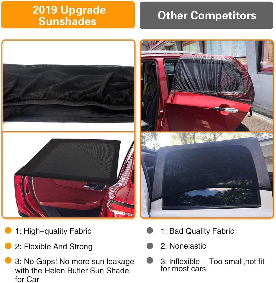 Anti-Glare and UV Rays Protection for Baby Kids Adult SUV Minivans and Large Sedans Car Camping 2Pack Rear Sunshade XL Side Rear Window Sun Shade Stronger Stretchability 2X Car Sun Window Shade
