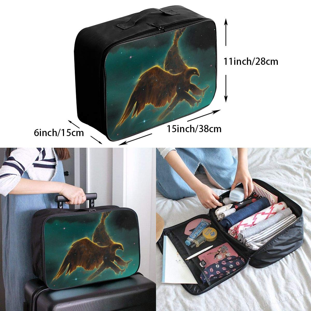 Travel Luggage Duffle Bag Lightweight Portable Handbag Space Eagle Pattern Large Capacity Waterproof Foldable Storage Tote