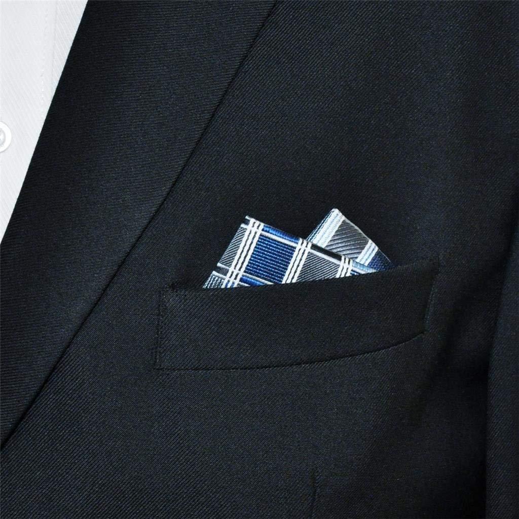 Shlax /& Wing Mens Pocket Square Checkered Blue Grey Hanky Designer 12.6