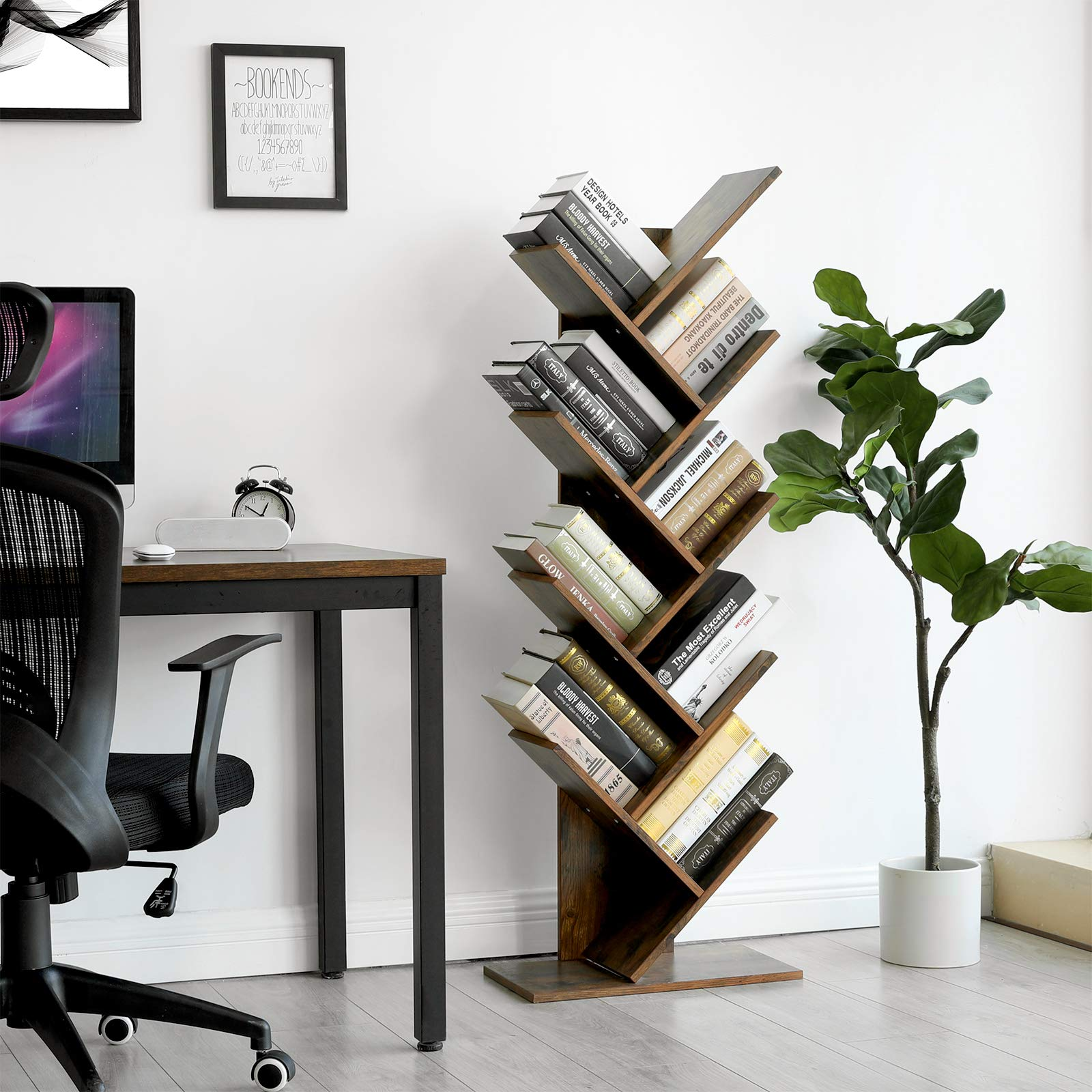 VASAGLE Tree Bookshelf, 8-Tier Floor Standing Bookcase, with Wooden Shelves for Living Room, Home Office, Rustic Brown ULBC11BX by VASAGLE (Image #2)