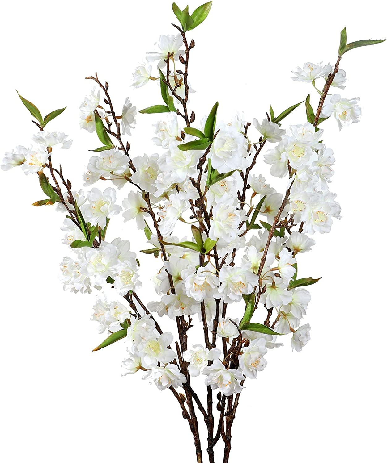 Cherry Blossom Stems Flowers Artificial - 3 Japanese Plum Branches Long Silk Petals Tall Fake Flower Tree Large Faux Centerpiece Dogwood Blossoms Vases Arrangements for Home Decor Wedding Vase - White