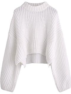 4471eee8eb9610 SheIn Women s Mock Neck Drop Shoulder Oversized Batwing Sleeve Crop Top  Sweater